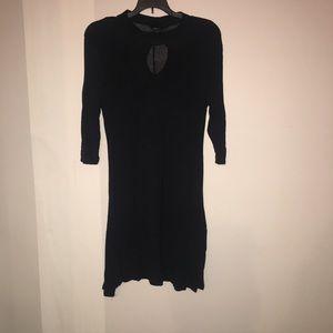 Mesh turtle neck black dress.